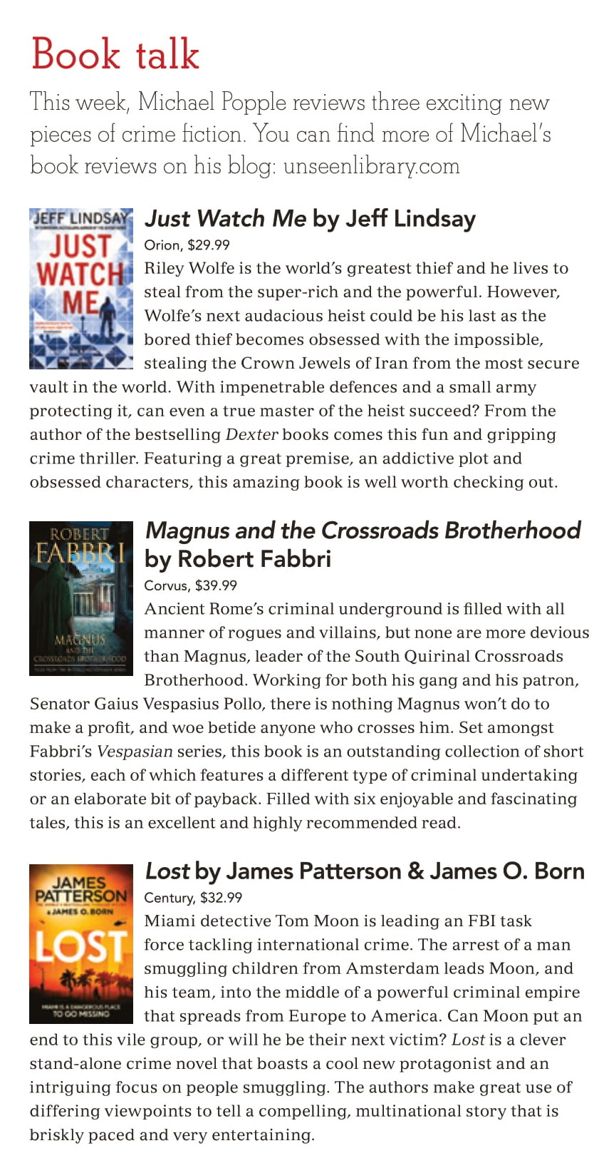 Canberra Weekly Column - 16 January 2020 - Crime Fiction-1