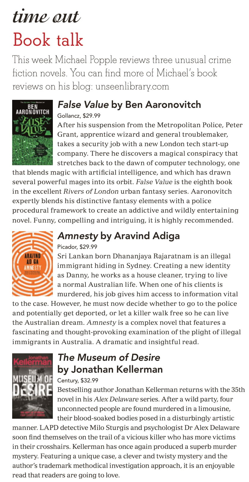 Canberra Weekly Column - 5 March 2020 - Crime Fiction-1