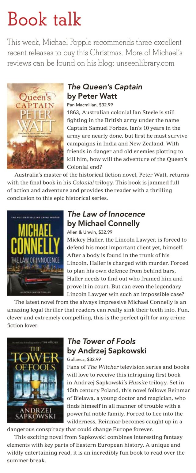 Canberra Weekly Column - Christmas Reads - 3 December 2020 - image