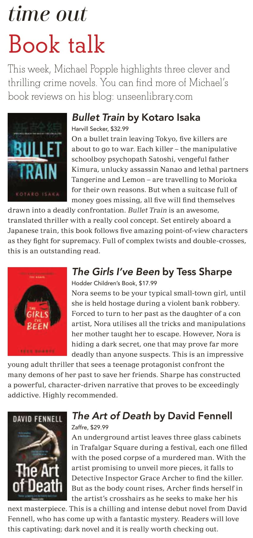 Canberra Weekly Column - Thrillers - 18 March 2021 (cropped)