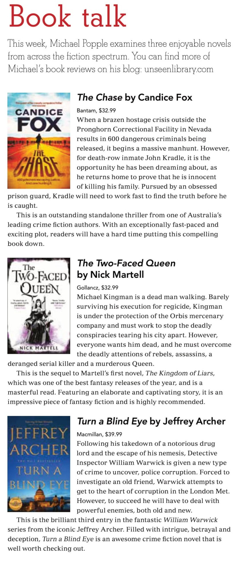 Canberra Weekly Column - MIxed Genres - 15 April 2021-1