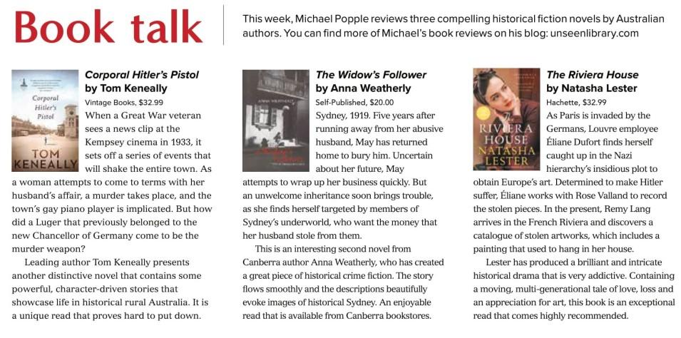 Canberra Weekly Column - Australian Historical Fiction - 23 September 2021-1
