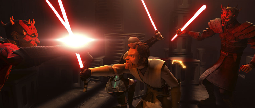 Kenobi and Ventress vs Maul and Opress